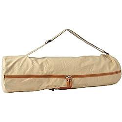 Bolsa de yoga »Sunita«, talla M de #DoYourYoga / Fabricada con lienzo (lona) de gran calidad, con un laborioso acabado / Para esterillas de yoga y de gimnasia de hasta 180 x 60 x 0,3 cm / color arena
