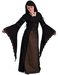Medieval Gothic Lace Up Dress, Black/Brown