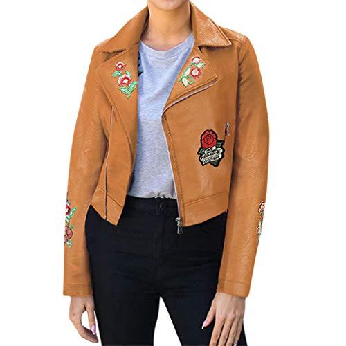 LoveLeiter Damen PU Lederjacke Bikerjacke mit Reißverschluss, Blume Stickerei Kurze Jacke für Herbst, Frühling Kunstlederjacke Übergangsjacke Classics Revers Jacke Elegant Wildleder Outwear