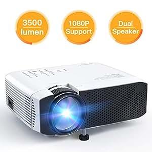 Beamer APEMAN Tragbarer Mini Beamer 3500 Lumen Unterstützt 1080P Full HD Videobeamer Heimkino Projektor Kompatibel mit HDMI / VGA / AV / Micro SD / USB Flash Laufwerk / PS4 / Chromecast