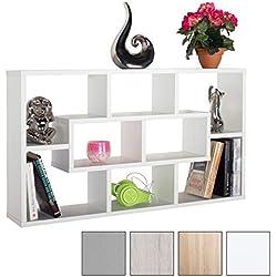 RICOO Etagère Murale Design en Bois WM050-W étagère Suspendue Meuble Mural Moderne Armoire de Rangement Decoration Maison Mobilier intérieure en Couleur Blanc