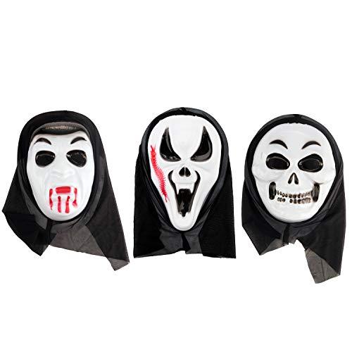 AHUA Halloween-Maske gruselig Zombie Erwachsenen Geister Festival Cosplay Kostüm Party Supplies, Halloween Requisiten Vollgesicht Latex Totenkopf Geist Gruselige Schrei Maske Gesichtshaube, 3 Styles
