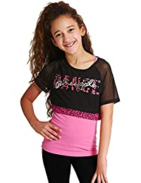 bddc4cb06ac70f Pineapple DANCEWEAR GIRLS Mesh Double Layer Dance Top Tee Black/Hot Pink