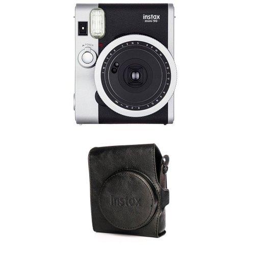 Fujifilm - Instax Mini 90 NEO Classic - Appareil Photo à Impression Instantanée - Noir + Housse - Appareil Photo