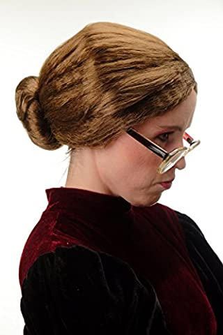 WIG ME UP ® - 69020-P6 Wig Ladies Halloween Carnival strictly tied back hairbun Governess Granny brown