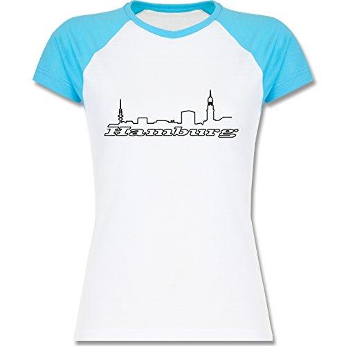 Skyline - Hamburg Skyline - zweifarbiges Baseballshirt / Raglan T-Shirt für Damen Weiß/Türkis