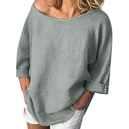 VJGOAL Bluse Damen Elegant Sommer Kurzarm Tops Frauen Einfarbig Lose Baumwolle und Leinen Shirt 7 Farbe 6 Größe