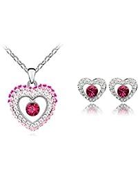 Color de la doble corazón colgante y pendientes Conjunto con cristales de Swarovski 18 K de oro blanco de acabado