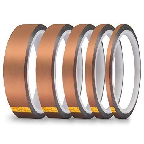 YOTINO 5Pcs Klebeband 3D Drucker Hitzebeständiges Tape Hohe Temp Polyimid Elektronik Isolierband 33 Meter (3mm, 5mm, 6mm, 12mm, 20mm)