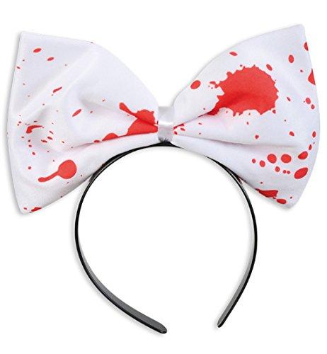 Haarreif Schleife mit Blut Horror HALLOWEEN Zombiebraut Bloody Lady Scherzartikel weiss mit roten Blutflecken Accessoire Karneval