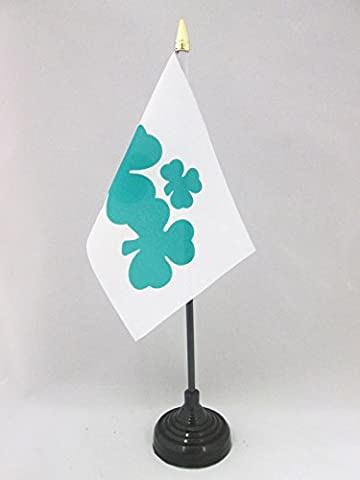 DRAPEAU DE TABLE TRÈFLE IRLANDAIS SHAMROCK 15x10cm - PETIT DRAPEAUX DE BUREAU DE L'IRLANDE 10 x 15 cm pointe dorée - AZ FLAG