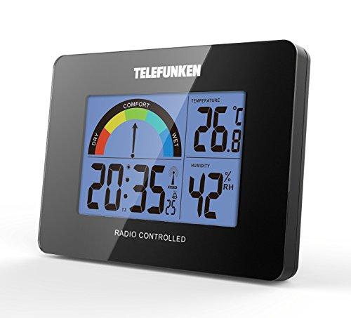 Telefunken FUD de 40com (B) LCD de radio despertador con térmica de/higrómetro 10x 3,5x 7,5cm (Negro)