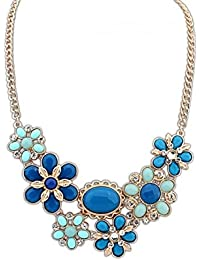 Crunchy Fashion Bohemian Style Blue Flower Statement Necklace For Girls