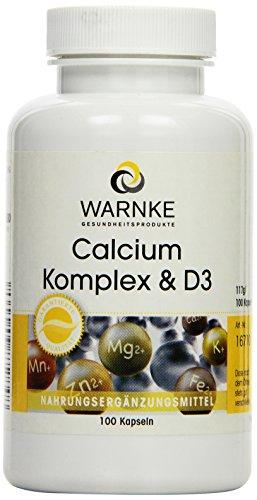 Warnke Gesundheitsprodukte Calcium Komplex und D, mit Calcium, Magnesium und Vitamin D3, 100 Kapseln, vegi, 1er Pack (1 x 117 g)