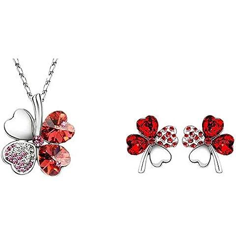 Le donne monili di catena orecchini collana di cristallo rosso dolce Four Leaf Clover 18K White Gold - Clover Cristallo