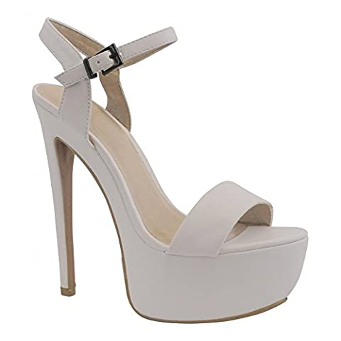 Ladies Womens White Pu Platforms Barely There Ankle Strap High Heels Strappy Sandals Shoes 3-8 UK7/EURO40/AUS8/USA9