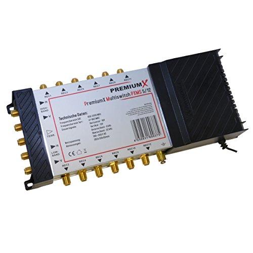 PremiumX Multischalter PXMS-5/12 Multiswitch Matrix 5-12 mit Netzteil Sat Digital Switch für 12 Teilnehmer HDTV 3D 4K