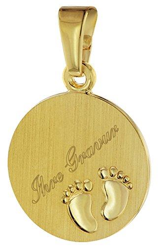 trendor Gold Anhänger Gravurplatte mit Babyfüßen 08307 - inklusive Wunsch-Gravur