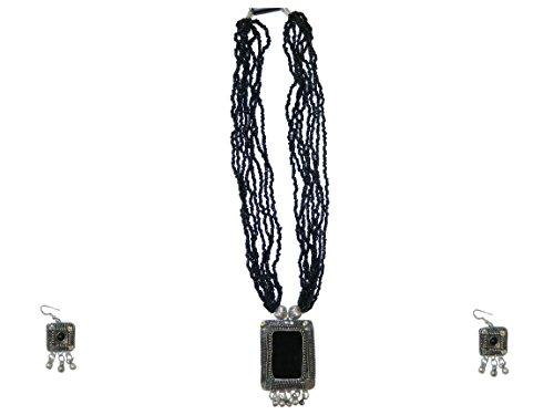 t Maharani schwarze Glaskeramik-Einlagen silberne Fassung Rajasthan Schmuck (Indische Kostüme Armreifen)
