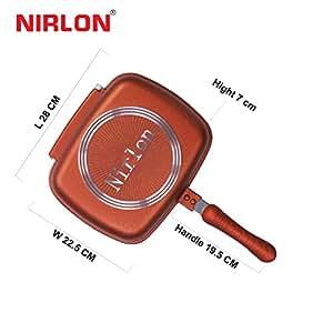 Nirlon Non-Stick Ceramic Frying Pan, 22.5cm, Brown/White