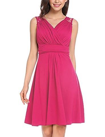Robe Cocktail Rose - Vessos Femme Robe de Cocktail V Sans