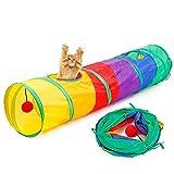 AOLVO - Túnel Plegable para Gatito con Pelota para Gato, Cachorro, Gatito, Conejo, Juguete Interactivo para Ocultar, Cazar y Descansar