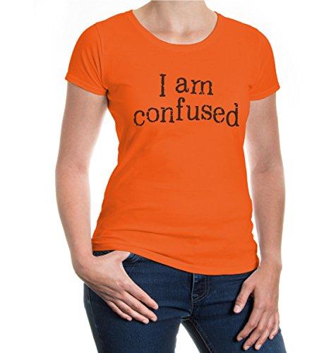 buXsbaum® Girlie T-Shirt I am confused Orange-Brown
