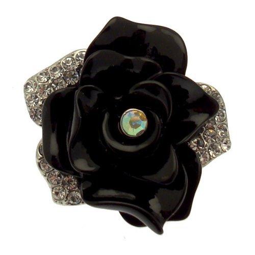 Art Deco Brosche Schichten Schwarz (Silberton) - inklusive Geschenkbeutel