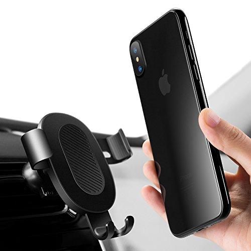 Humixx Handyhalterung Auto [Lebenszeit-Garantie] 360 ° Ein-Hand-Operative Auto-Air Vent Universal-Handyhalterung Kompatibel für Phone mit Einer Breite von 6,5 cm- 9cm-Schwarz
