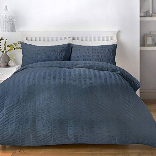 Serene Seersucker Parure de lit, 52% Polyester, 48% Coton, Denim, Double