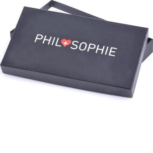 PHIL+SOPHIE, Cntmp, Borsa da Donna Portafoglio, In Vera Pelle, Borsa da Donna Portamonete, Borsa da Donna, Portafogli, Forma Rettangolare 20,5 x 9 x 2 cm blu