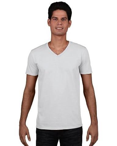 Soft Style T-Shirt mit V-Ausschnitt, Farbe:White;Größe:M M,White