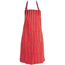 Para mujer delantal de cocina, diseño de rayas Chef profesional delantal de cocina, diseño de rayas con bolsillo doble