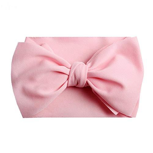 band für Mädchen Solid Large Hair Bows elastischen Turban Kopf Wraps Kids Top Knot Haarband Haarschmuck Light Pink Set von 4 ()