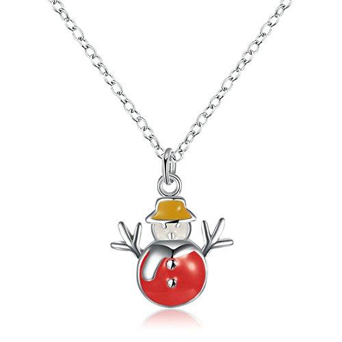 Weihnachten Geschenk Schmuck für Damen Mädchen Kette Rote Schneemann Anhänger Halskette Kettelänge (Kurze Ohrringe Trachten Zahn)