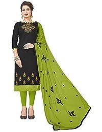 0c48158255 Blissta Women's Black Slub Cotton Unstitched Salwar Suit With Embroidered  Dupatta