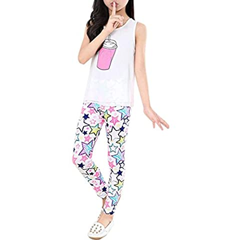 ❀AMUSTER ❀Pantalons pour enfants Leggings d'impression Flower Classic petites filles Pantalons à crayons 2-13 Ans (2 Ans, Blanc)