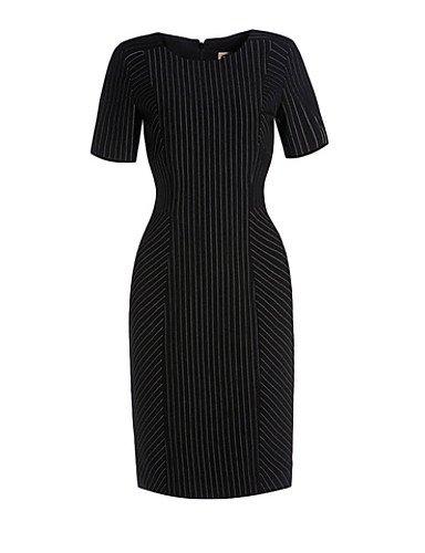 PU&PU Robe Aux femmes Gaine Sexy / Simple,Rayé Col Arrondi Midi Polyester BLACK-XL