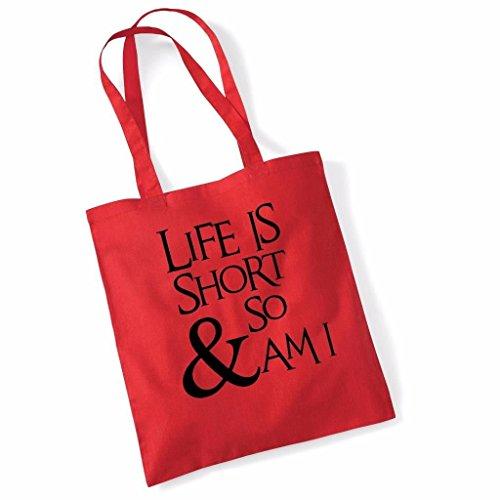 Print Canvas Shopper (Tote Bag For Women Life es Short and So Am I Slogan Print Shopper Shoulder Canvas Bags 100% Cotton)
