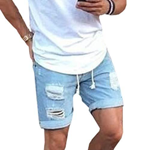 049f5f5a71 Qiansu Pantalón Corto Vaqueros para Hombre - Elástico Slim Fit Denim  Pantalones Cortos Distressed Rasgado Agujero