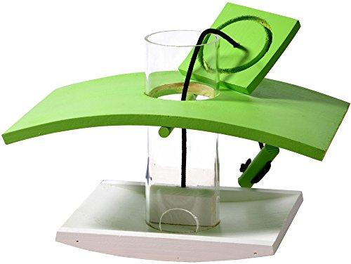 Luxus-Vogelhaus 33940e Vogelfutterspender mit Acryl glassilo und Kordel zum Aufhängen, hellgrün/weiß