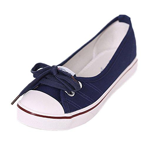 Minetom Femmes Mode Toile Chaussures Bout Rond Talon Plat Espadrilles Loisir Flâneur Chaussures
