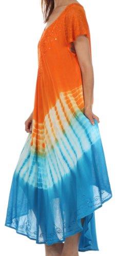 Sakkas Robe Caftan Multicolore Mancheron Tie Dye / Robe de plage Orange