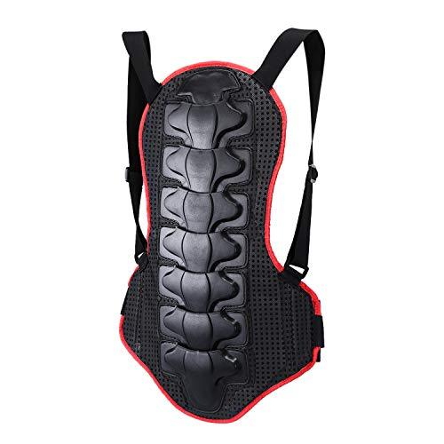 Suntime Rückenprotektor, Umreifungsschutzkleidung EVA-Polsterung mit Nylon Stoff für Motocross Motorrad Ski Snowboard Skating (Rot & Schwarz)