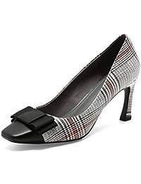 QOIQNLSN Scarpe Da Donna In Pelle Scamosciata Comfort Molla Tacchi Stiletto Heel Nero/Grigio / Mandorla