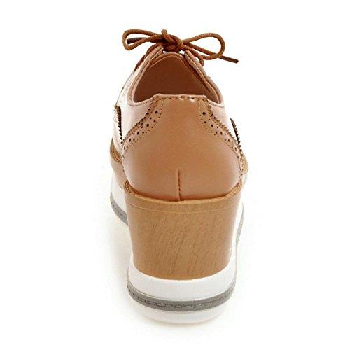 COOLCEPT Femmes Mode Dentelle Talons hauts Forme Plate Escarpins Restro Franges Chaussures Abricot