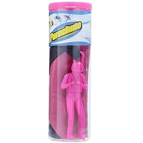 Figurine de jeu militaire avec parachute - Figurine de parachuteur - Dimensions: 15 x 5 x 5 cm (Rose)