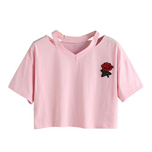 TUDUZ Tops Damen T-Shirt mit Rose Stickerein Kurzarm V-Ausschnitt Sommer Oberteile Shirt Bluse
