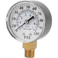 "Manómetro 0-100 psi 0-7 bar, manómetro para agua, aire, aceite, esfera instrumental, base de entrada NPT, rosca 1/4"""