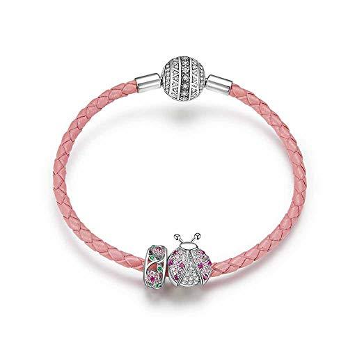 YJEW Niedlicher Marienkäfer Charm Perlen Armbänder Frau 925 Sterling Silber Modeschmuck Kompatible Europäische Charm Bead,17CM